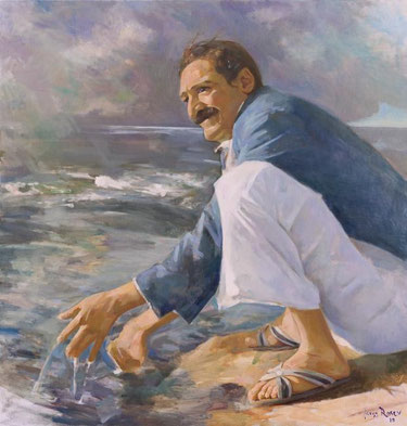 Meher Baba at the Narmada River Marble Rocks, Jabulpur December 25, 1938 ; Artist - Gregg Rosen