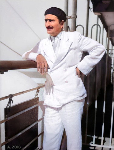 Meher Baba returning from France to India aboard the S.S. Circassia, 1937. Image colourized by Anthony Zois.