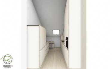 3D-Entwurfsplanung Küche in Dachschräge angepasst mir raumhohen maßangefertigeten Oberschränke für die Dachschräge
