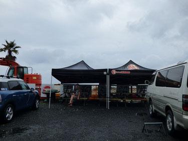 途中豪雨の中テントがかなり役にたちました~