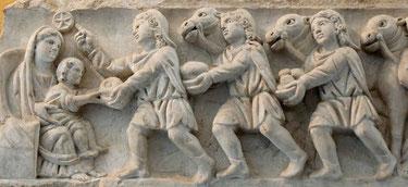Sarcophage du cimetière Saint-Agnès à Rome, c. IVe s.