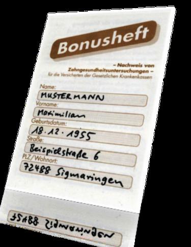 Bares Geld wert: Ihr BonusheftDr. Udo Goedecke. Zahnarzt in Osnabrück