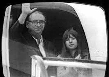 Den tidligere borgmester i Vestberlin Albertz og Gabi på flyet til Jemen