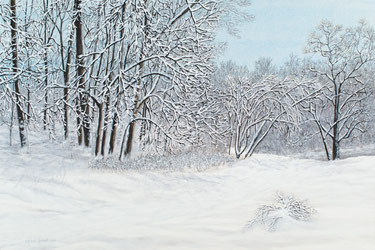 "Acrylic painting of snow laden trees - ""First Snow"""