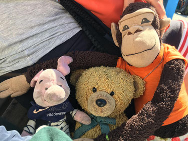 Ferkel Mengewein mit Teddy Hotopp und Affi Triebe zusammen während des ICATAT-Sommer-Colloquiums 2020 am Strand von Hiddensee. Foto © Kirsten Mengewein kiraton.com