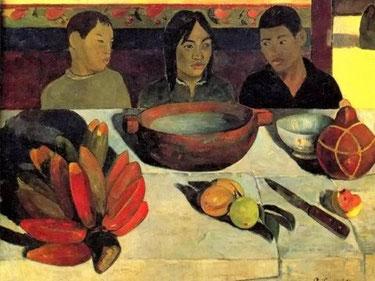 """Un cuadro pintado en el 1891 por Paul Gauguin, """"Le Repas"""", cuenta con un cultivar de Tahití de plátano rojo."""
