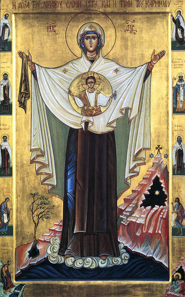 Ikone der Muttergottes, Ruhm des Libanon und Zierde des Karmels. Bild: mary-queen-of-carmel-assoc.org