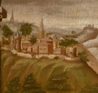 Abb. 8: Ausschnitt des Fundationsbildes von 1621 in Bödingen mit einer der ältesten Abbildungen Blankenbergs.