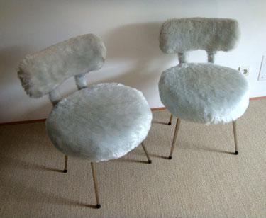 Fauteuil chaise moumoute vintage gris