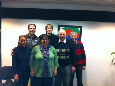 Der alte Vorstand von l.n.r.: Gabriele Adam, Frank Müller, Antje Schwarz, Rolf Grimm, Konrad Bildhauer, Rainer Grimm