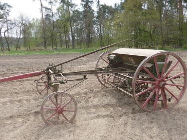 Unsere alte pferdegezogene Sämaschine ist ebenfalls eine Produktion von Claas, ebenso wie heute viele Mähdrescher und Traktoren. Wir setzen sie noch immer zur Einsaat ein. Es lassen sich verschiedenste Korngrößen säen, von Erbse und Mais bis Weizen Hafer.