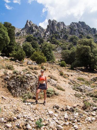 Im Hintergrund die Felswände der Punta Carabidda.