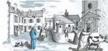 Le bourg de Plouhinec vers 1865 (Dessin Jo Le Floch)
