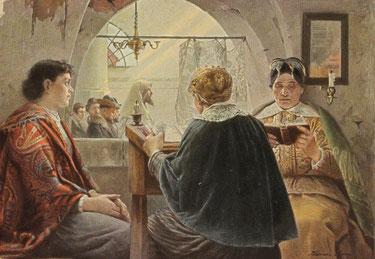 Frauen in der Synagoge, Postkarte