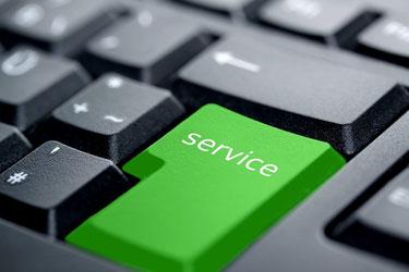 """Tastatur mit der Taste """"Service"""" für Kundenberatung"""