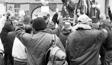 越年・越冬闘争の勝利にむけて突入集会を闘う福日労(昨年12月31日