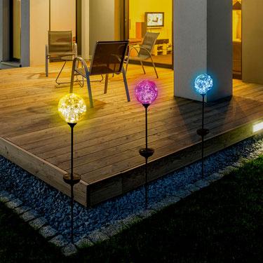 ©Nortene, OPHEA COLOR, globe solaire en verre coloré