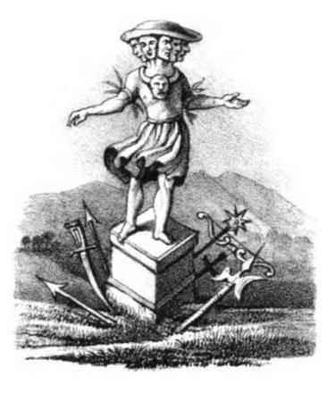 """Porevit. Lithographie von 1835 (aus """"Götzenbilder der alten Sachsen und Lausitzer"""")"""