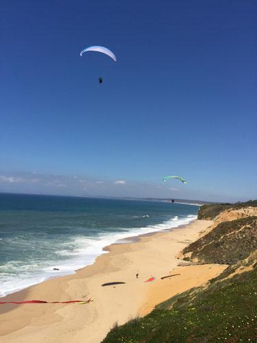 Paragliding soaren an der Westküste Portugals