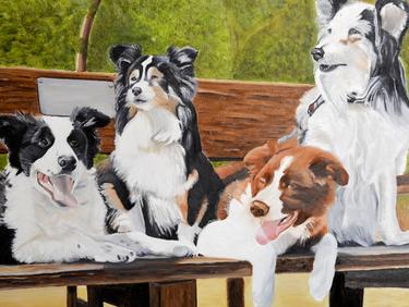Marylens Atelier schilderij opdracht 4 huisdieren, honden op 1 doek in olieverf.