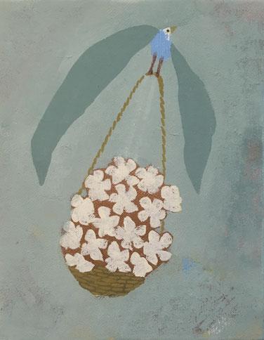 花束を届ける  油彩 140x180mm