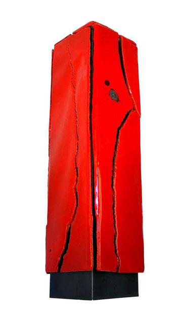 Terre cuite émaillée sur socle acier - Hauteur : 91cm - Largeur : 20cm - Profondeur : 20cm - Collection Privée (France)
