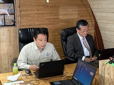 超高層ビルに木材を使用する研究会総会(オンライン)で報告する桐野室長
