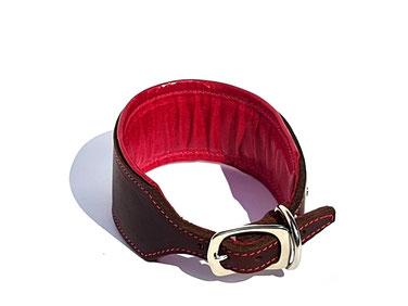 Lederhalsband Windhund whippet braun pink mit Polster Polsterung Handarbeit vernäht