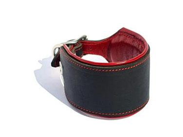 Lederhalsband Windhund schwarz 6,5 cm breit mit Polsterung und rotem Futter handarbeit mit Edelstahlverschluß Bolleband