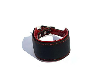 Lederhalsband Windhund schwarz rot gepolstert genäht Handarbeit Bolleband
