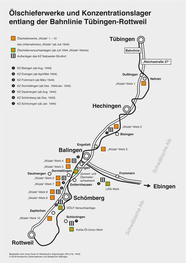 Ölschieferwerke u. Konzentrationslager entlang der Bahnlinie TÜ-RW