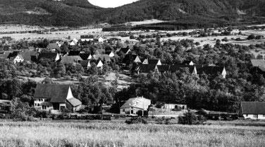Blick vom Geischberg auf den Ort. Im Vordergrund die ehemalige KZ-Baracke, etwa 1952