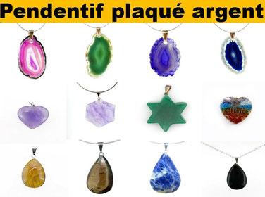 Pendentif plaqué argent - Boutique de minéraux - Casa bien-être.fr