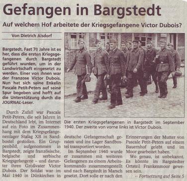 Presseartikel zur Suche nach dem französischen Kriegsgefangenen Victor Dubois. Stader Tageblatt, 21.7.2010