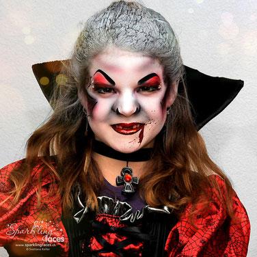 Kinderschminken_Vorlagen; Schminkfarben_kaufen_Schweiz; Kinderschminken_Kurse; einfach; Vampir