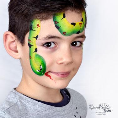 Kinderschminken_Vorlagen; Schminkfarben_kaufen_Schweiz; Kinderschminken_Kurse; einfach; Schlange