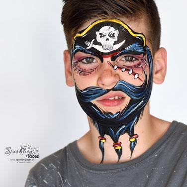 Kinderschminken_Vorlagen; Schminkfarben_kaufen_Schweiz; Kinderschminken_Kurse; einfach; Pirat