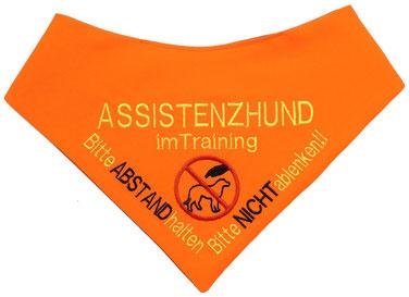 Assistenzhund im Training, Hundehalstuch bestickt