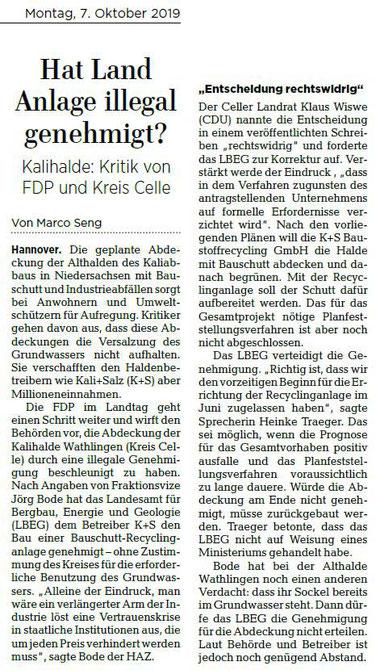 Quelle: Hannoversche Allgemeine Zeitung, 07.10.2019