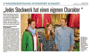 Birgit, Anna und Daniel Frauenfelder (v.li) bei der Wiedereröffnung des Stammhaus nach Umbau in 2014