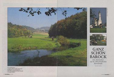Links/Mitte: Im romantischen Lautertal. - Rechts oben: Blick auf die imposante Dorfkirche von Steinhausen. - Rechts unten: Die Oberschwäbische Barockstraße ist ausgeschildert.