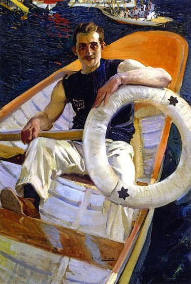 Joaquin Sorolla.El remero 1908.Óleo sobre lienzo.108x80cm.Forma parte del tríptico Dias de Regata por encargo del Rowing Club de Buenos Aires.Este panel del descanso tras la competición, de atrevida modernidad y tal vez por ello no gustó en Buenos Aires.