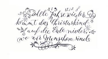 Weihnachtspost mit der Spitzfeder schreiben