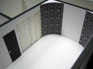 内観模型のリビングに施されたR壁