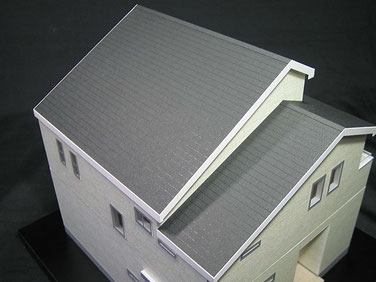 2種類の屋根勾配が印象的な住宅模型
