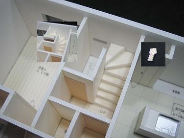 住宅模型の階段部分の拡大写真