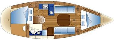 Layout BAVARIA 30 cruiser, 2 Kabinene, Segelyacht, Yachtcharter Kroatien, Yacht mieten, Sukosan