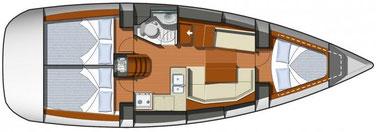 Layout: sailing yacht sun odyssey 36i, yacht, sailing, yactcharter sukosan, yachtcharter zadar, croatia, 3 cabin sailing yacht
