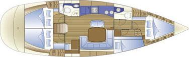 Layout: sailing yacht BAVARIA 44, 4 cabin sailing yacht, yacht charter Sukosan, yacht charter croatia, zadar, bareboat rental, charter