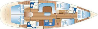 Layout Bavaria 49, 5 cabin sailing yacht, yacht charter croatia, yacht charter sukosan, rent a yacht, rent boat